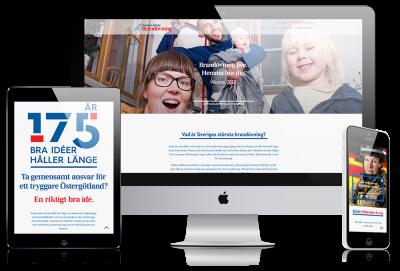 Kampanjsiten för Sveriges största Brandövning i tre varianter: en surfplatteversion, en desktopversion och en mobilversion.