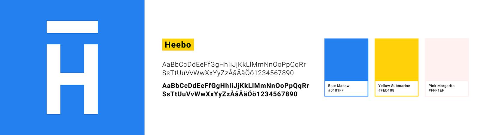 Miniversion av Hamrén Webbyrås nya grafiska profil, innehållande en symbol, teckensnittet Heebo och våra tre primärfärger Blue Macaw, Yellow Submarine och Pink Magnolia.