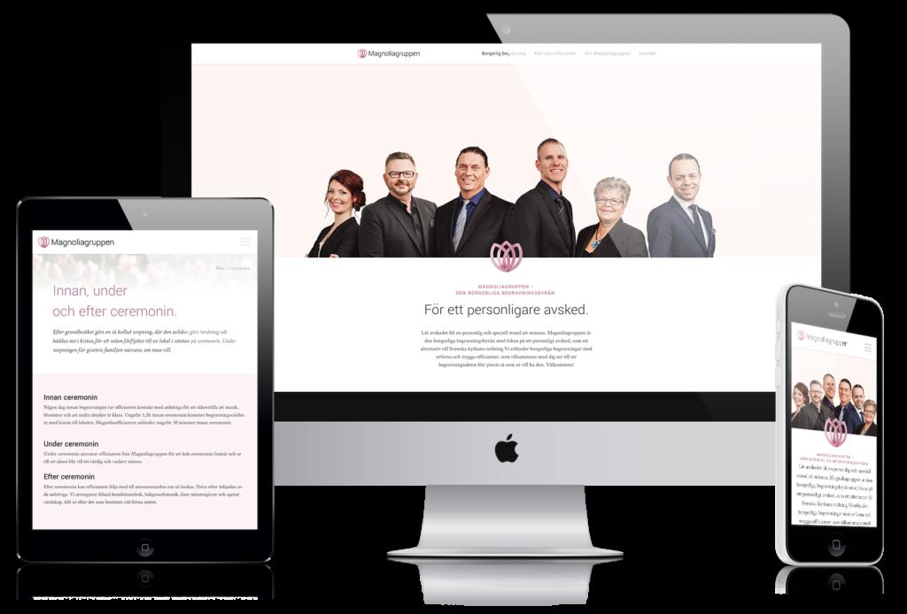 Magnoliagruppens hemsida visualiserad i tre olika varianter: en desktopversion, en surfplatteversion och en mobilversion.
