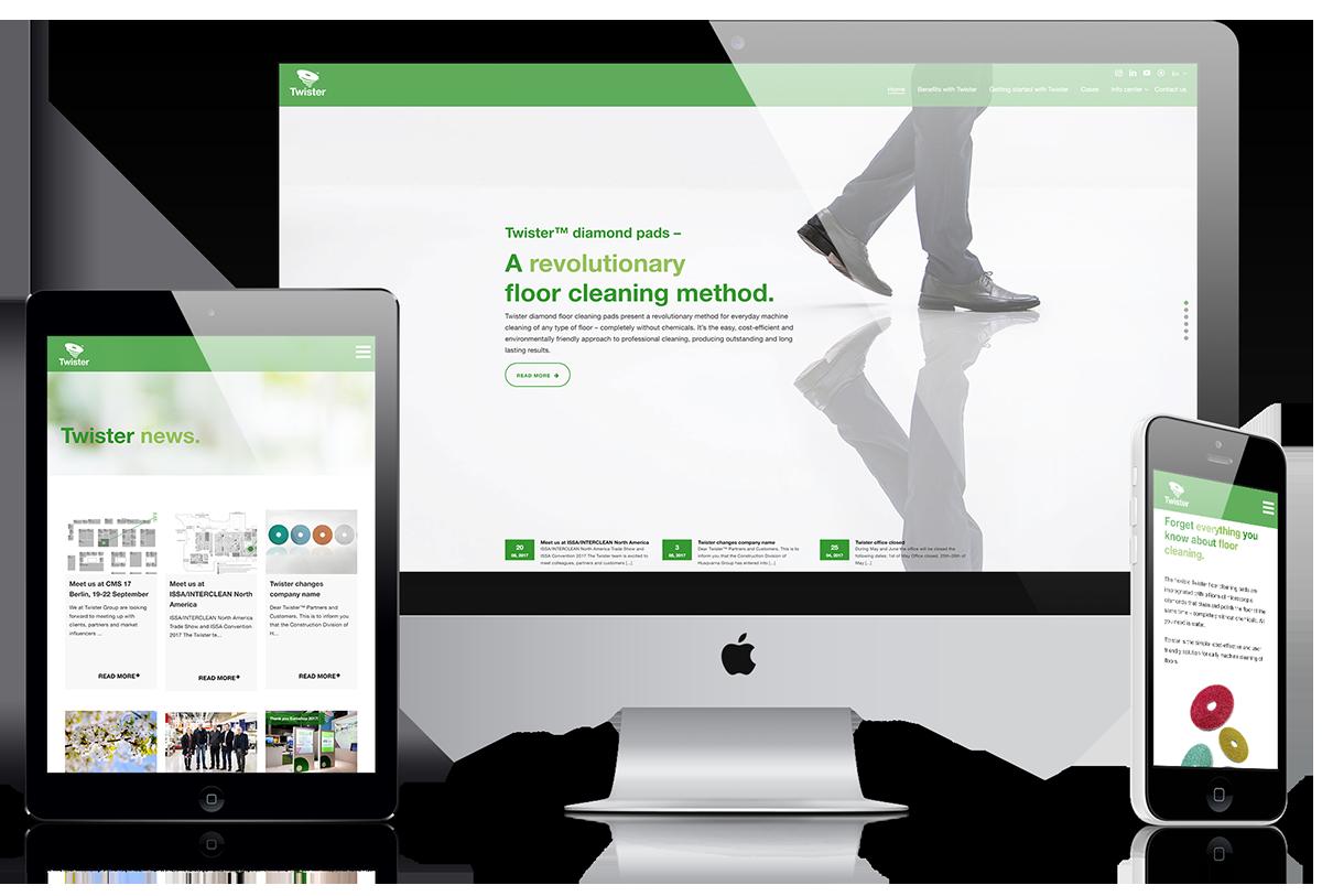 Twisters hemsida i tre varianter: en surfplatteversion, en desktopversion och en mobilversion.