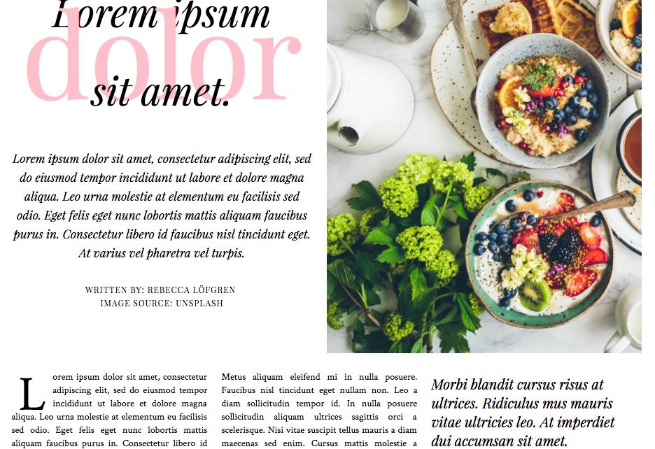 Ett utsnitt av ett kodexempel av CSS Layout Grid. Bilden visar en tidningsartikel med platshållartext. Artikeln använder et 6-kolumnsgrid.