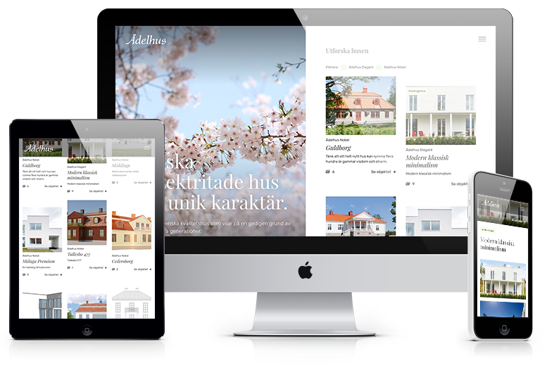 Mockup för hemsidan adelhus.com. En desktopversion i mitten, en surfplatteversion till vänster och en mobilversion till höger.
