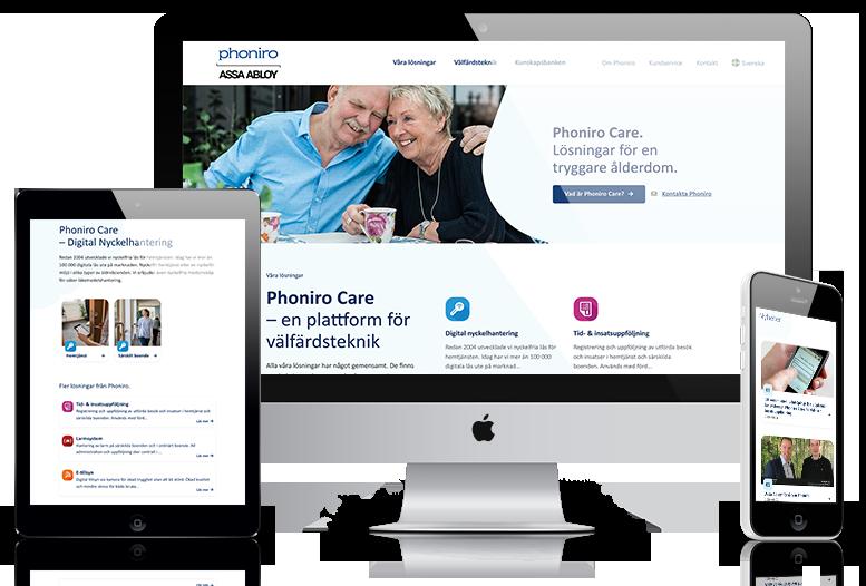 Mockup för hemsidan phoniro.se. En desktopversion i mitten, en surfplatteversion till vänster och en mobilversion till höger.