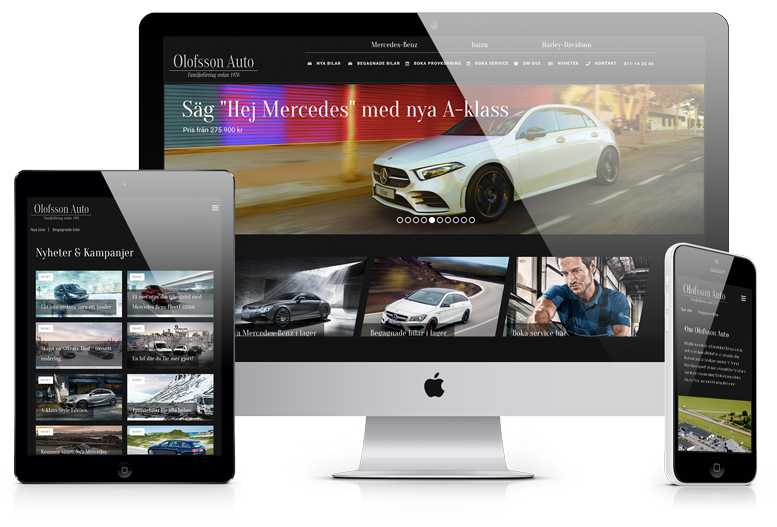 Hemsida för Olofsson Auto visad på olika skärmar