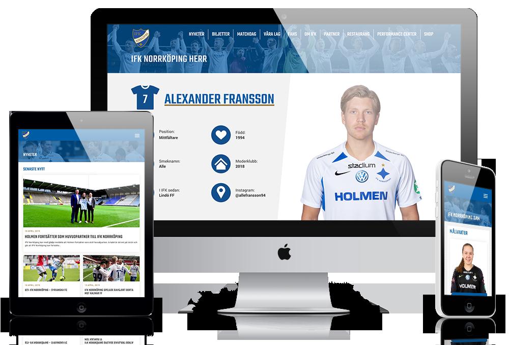 Hemsida för IFK Norrköping visad på olika skärmar