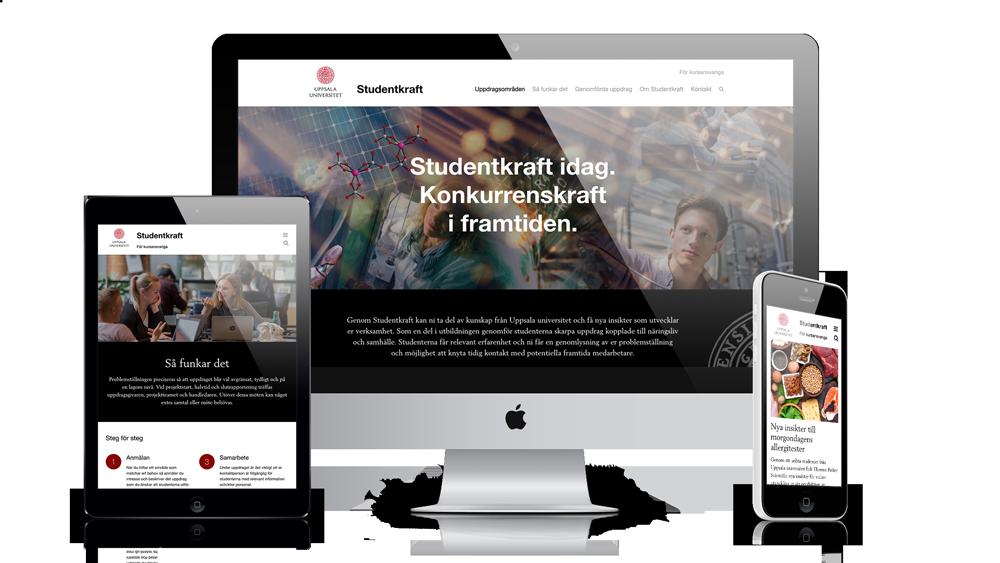 Hemsida för Uppsala universitet visad på olika skärmar