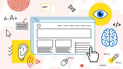 Illustration som visar de olika aspekterna för att göra internet för alla