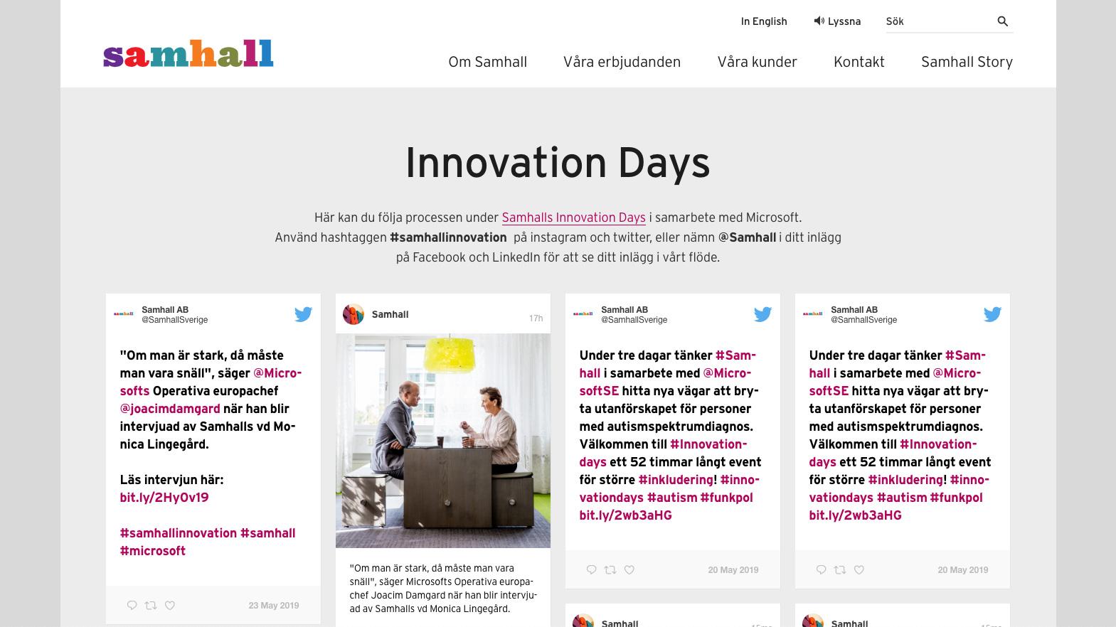skärmdump från samhalls sociala medier flöde för innovation days