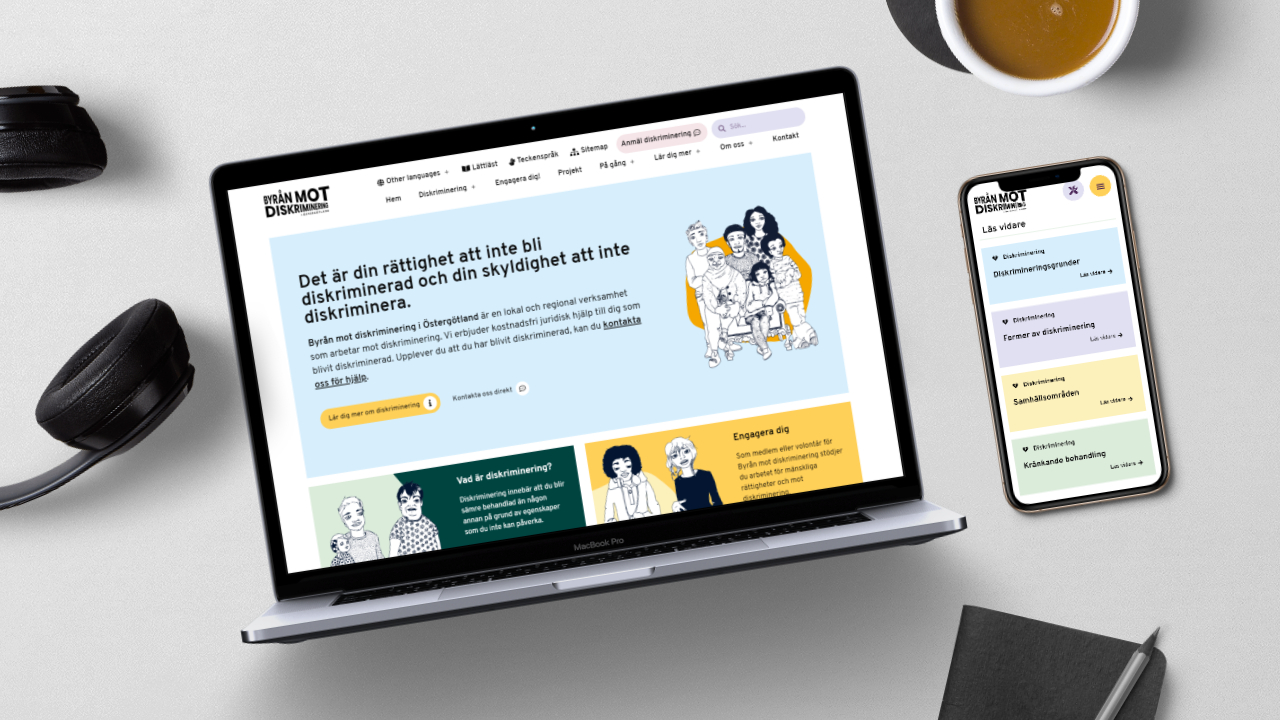 Mockup av dator och mobil med sidor från Byrån mot diskriminerings hemsida