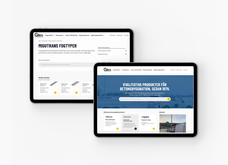 Mockup av 2 stycken iPad som visar en startsida och en produktsida