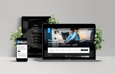 Sky Hotel hemsida på olika enheter