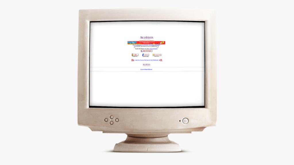 AltaVista från 1995, placerad i en gammal dator.