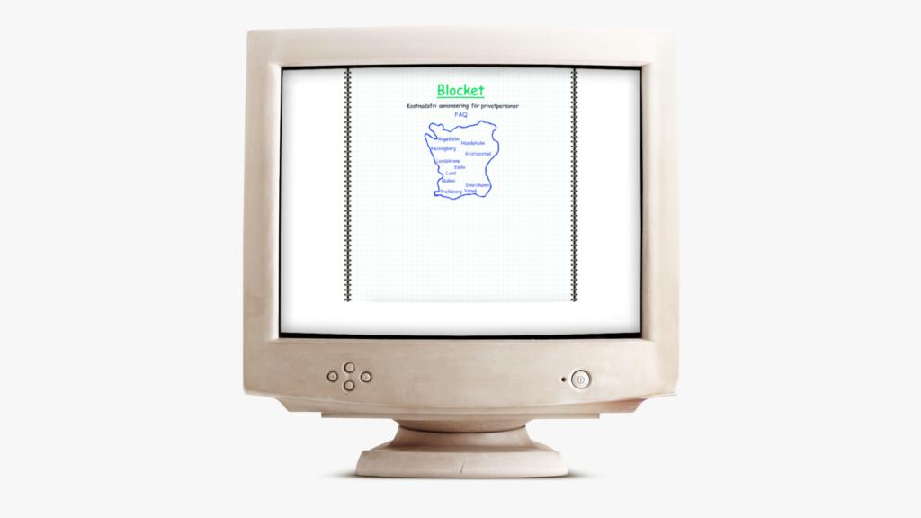 Blocket 1996, placerad i en gammal dator.