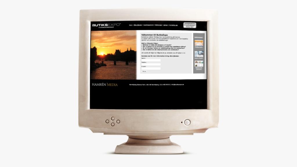 Butiksexpo 2006 men loggan Hamrenmedia i vänster hörn, placerad i en gammal dator.