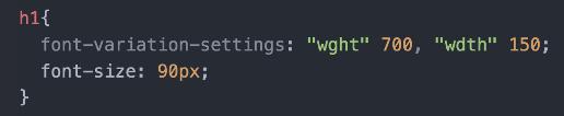 Visar programmeringskod för att påverka texten i ett element via font-variation-settings.